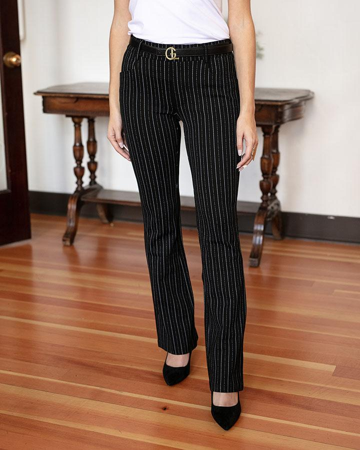 Grace & Lace | Fab-Fit Work Pant | BOOTCUT | Black Pinstripe