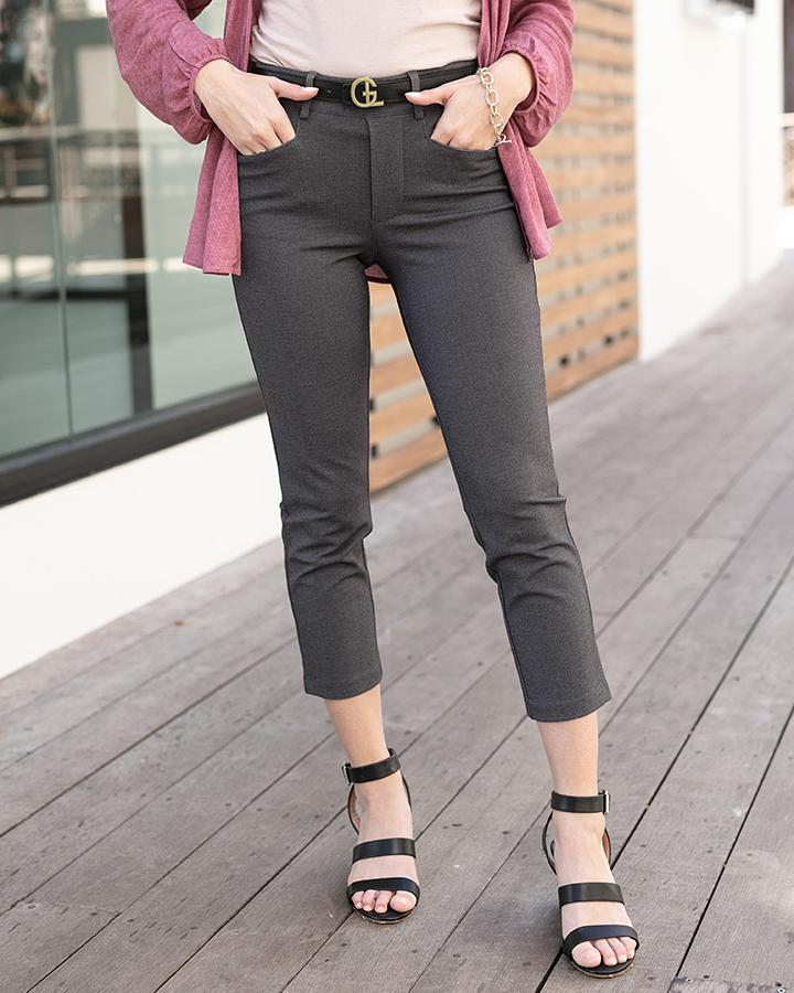 Grace & Lace Fab-Fit Work Pant | CROPPED | Slim Fit - Charcoal