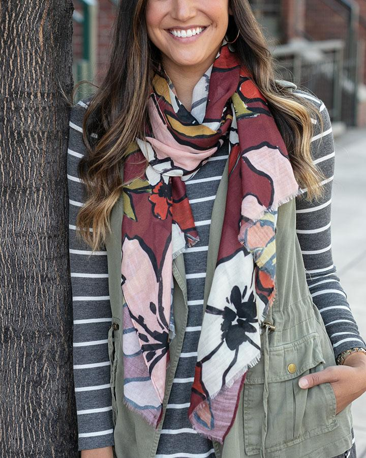 Grace & Lace | Fall Floral Scarf | Wine Floral