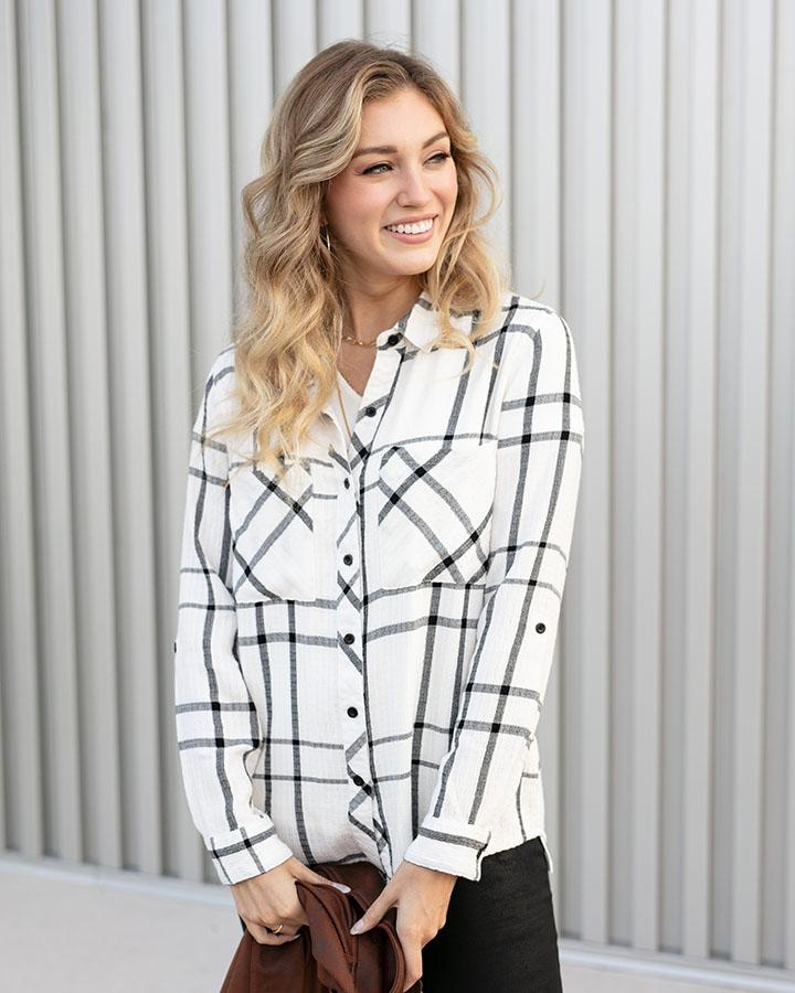 *FINAL SALE* Grace & Lace Favourite Button Up Plaid | White/Black