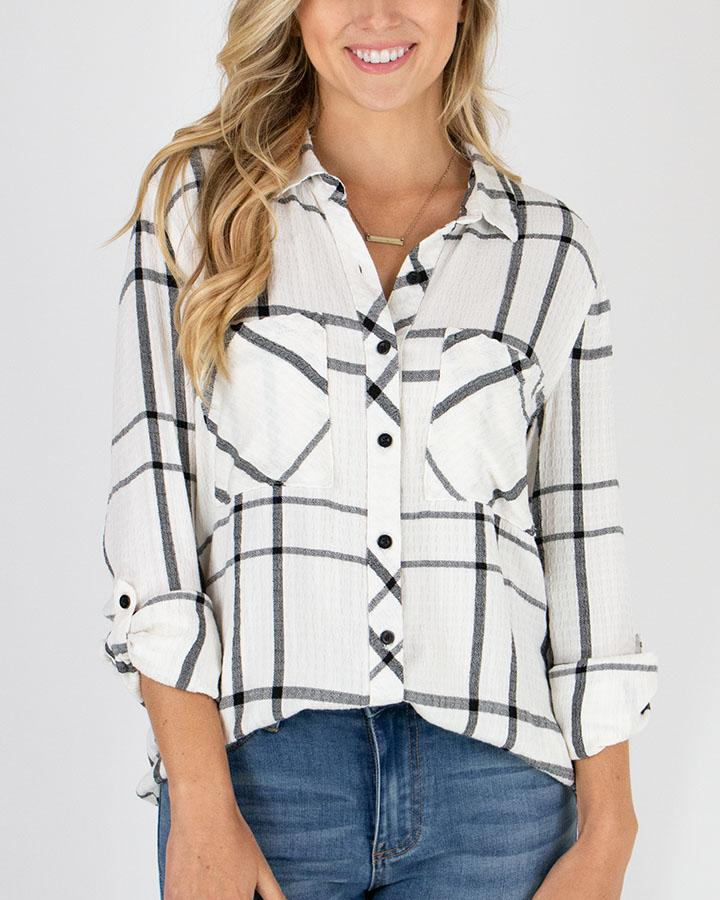 Grace & Lace Favourite Button Up Plaid | White/Black