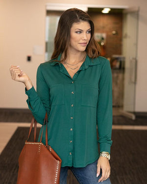 Grace & Lace Favourite Button Up Top - Juniper