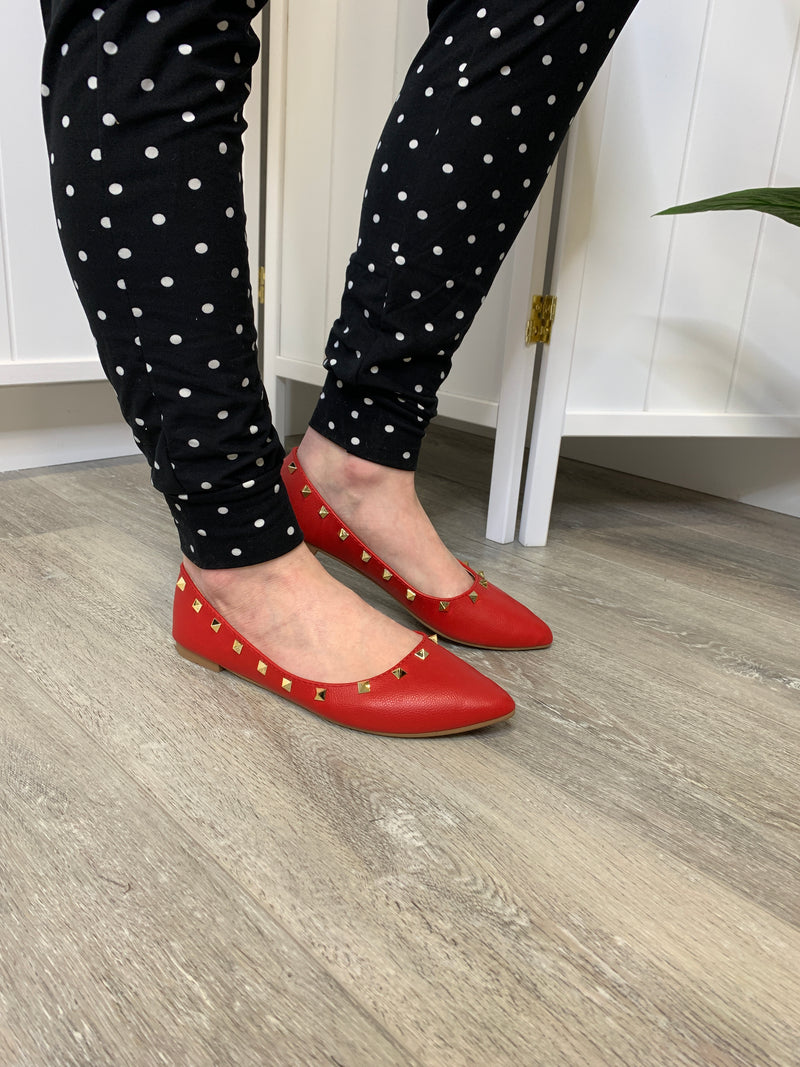 *NEW* Stella Stud Flats | Red