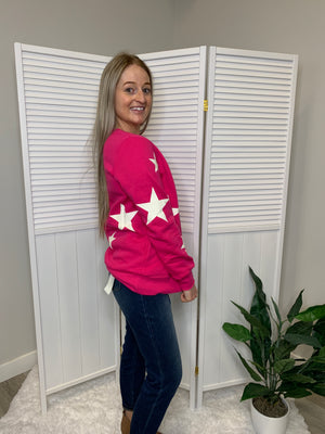 *NEW* Wish Upon A Star Sweater | Fuchsia & Ivory