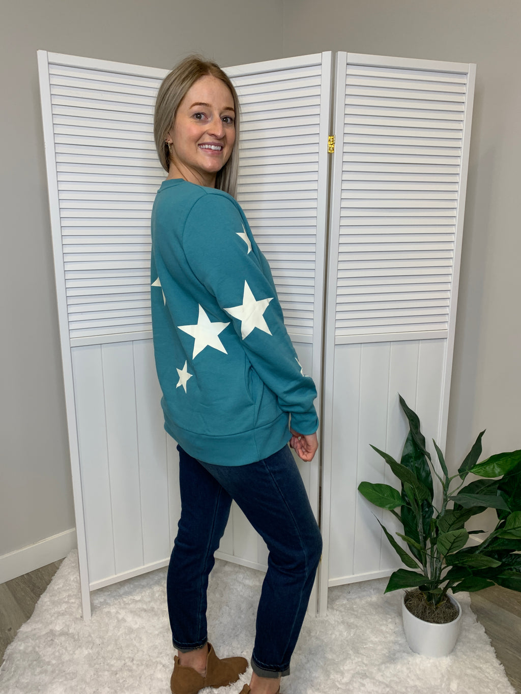 *NEW* Wish Upon A Star Sweater | Dusty Teal & Ivory