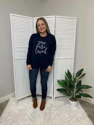 Blonde Ambition | You Are Loved | Navy Sweater