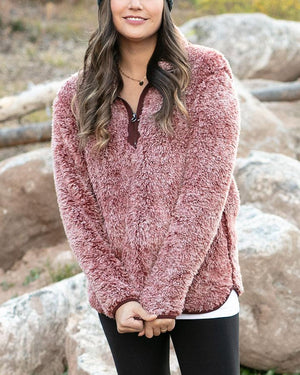 *FINAL SALE* Grace & Lace | Fleece Sherpa Pullover | Heathered Wine