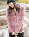 Grace & Lace | Fleece Sherpa Pullover | Heathered Wine