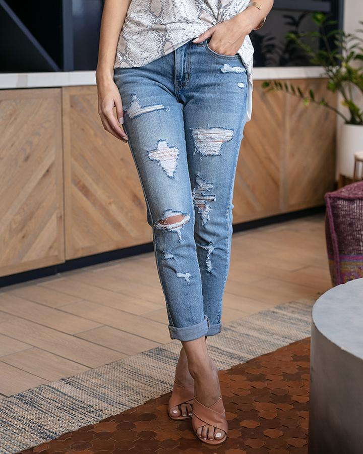 Favourite Girlfriend Jean - DISTRESSED - Mid Wash