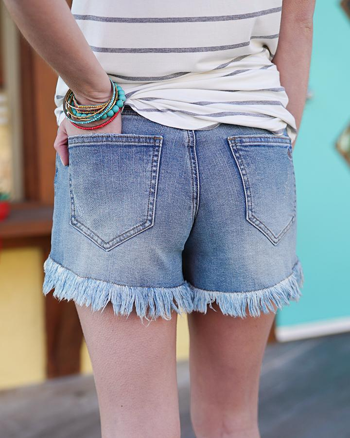 Grace & Lace Girlfriend Button Fly Shorts - VINTAGE MID WASH