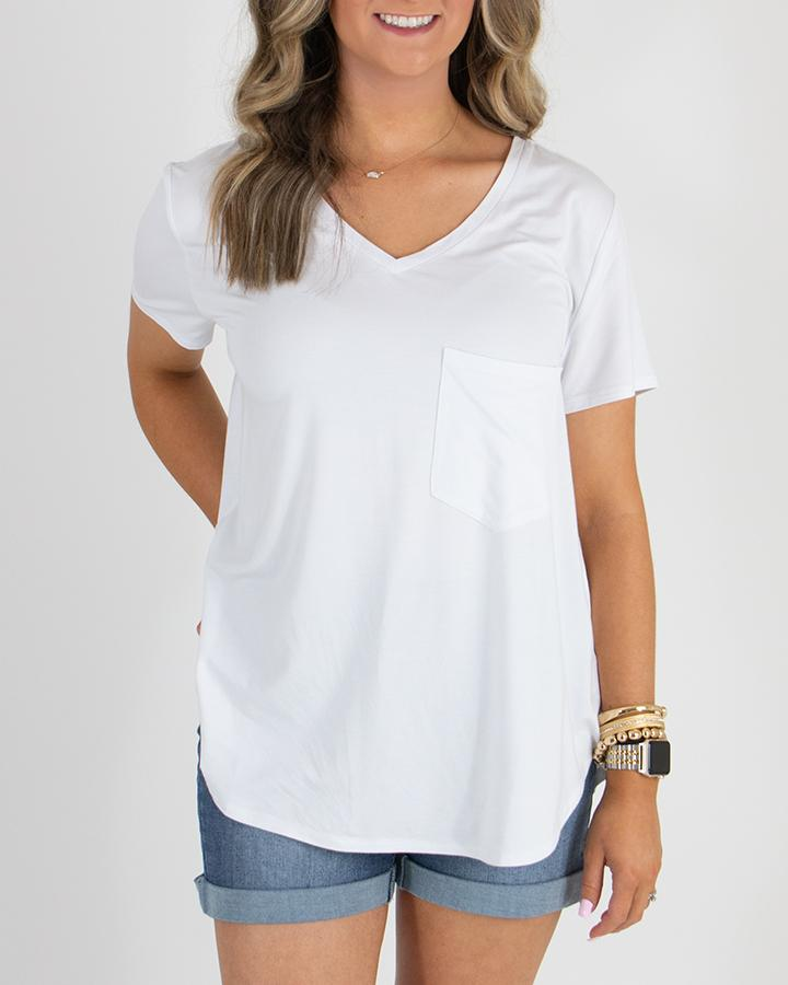 Grace & Lace Perfect Pocket Tee | Heavy Gauge | Bright White
