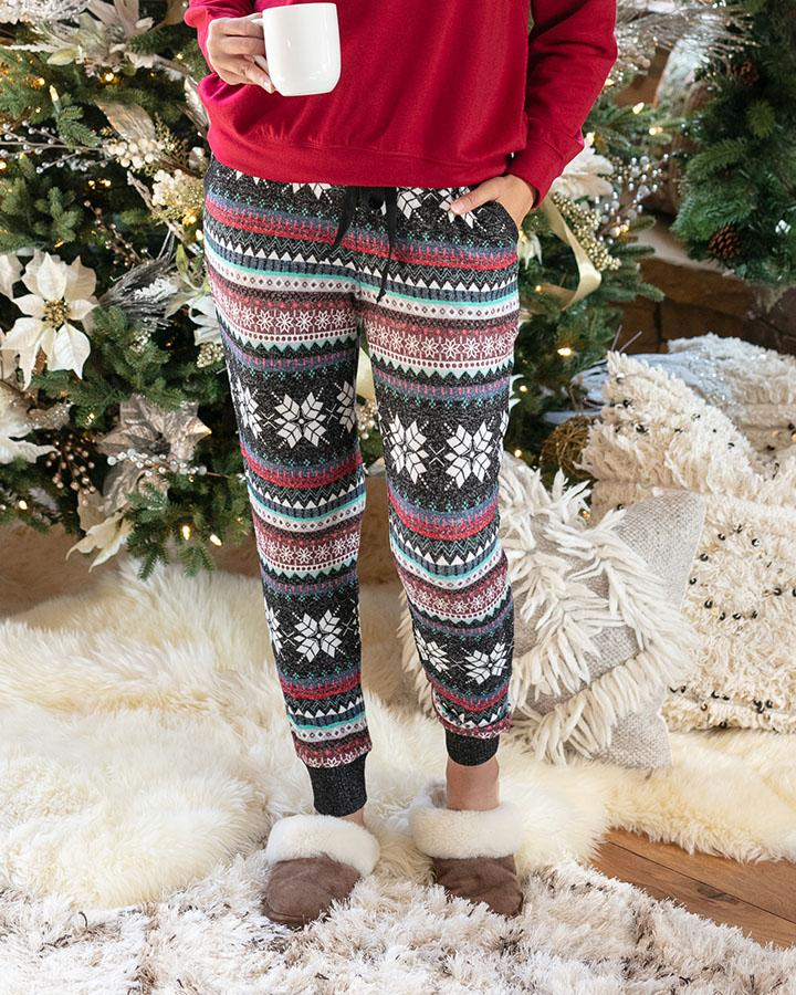 Grace & Lace | Holiday Snow Day Joggers | Winter Snowflake