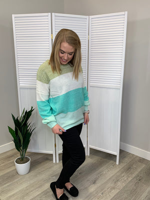 Harlow Colourblock Sweater - Mint
