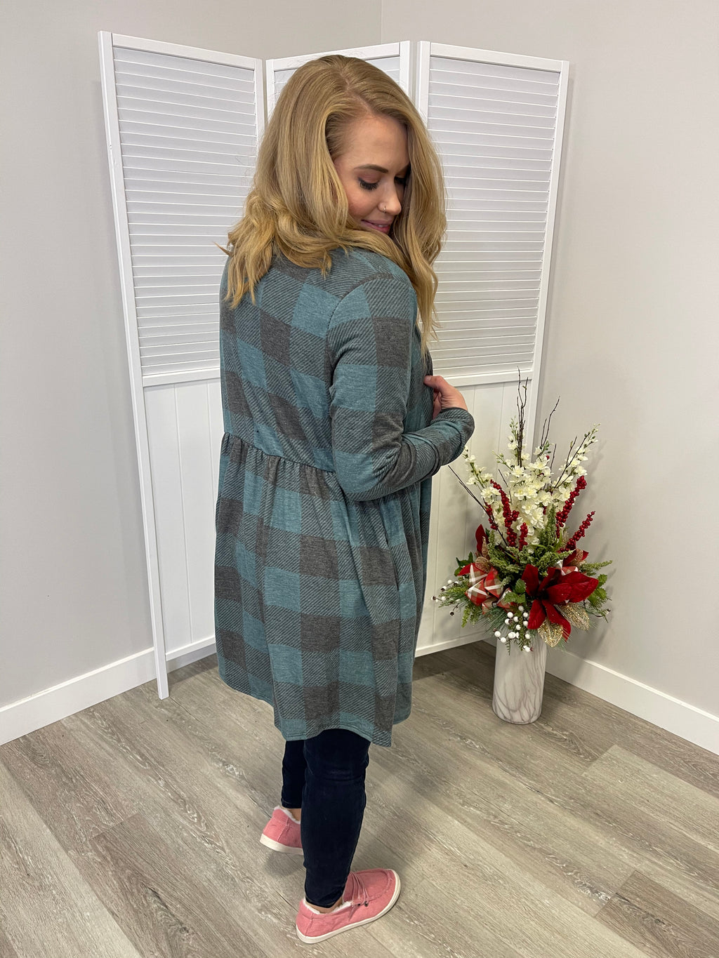 Frozen Babydoll Cardi | Heathered Teal Plaid