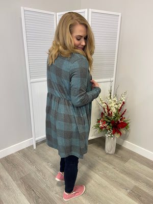 *FINAL SALE* Frozen Babydoll Cardi | Heathered Teal Plaid