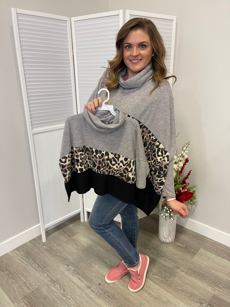 *NEW* KIDS Brianna Leopard Colourblock Poncho | Heather Grey