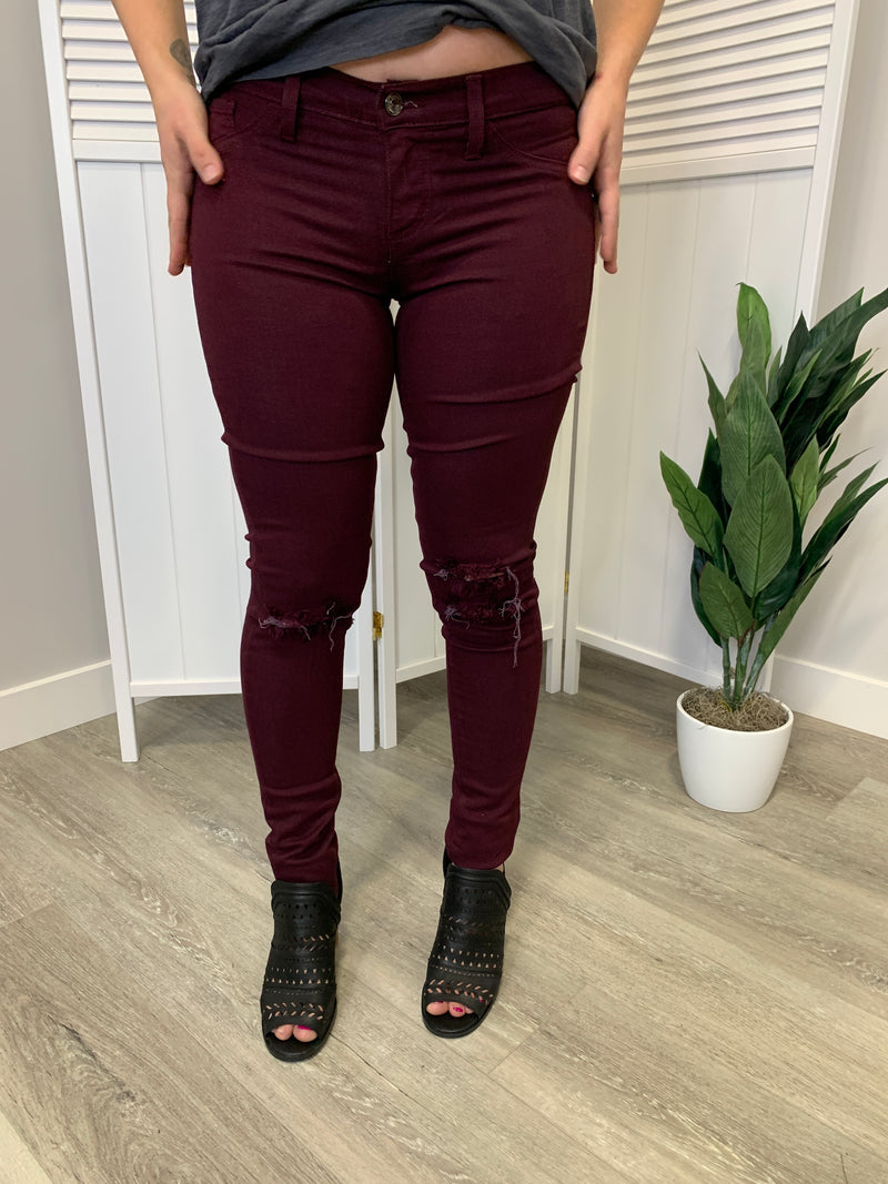 KanCan Jeans | Distressed Burgundy | Yuri