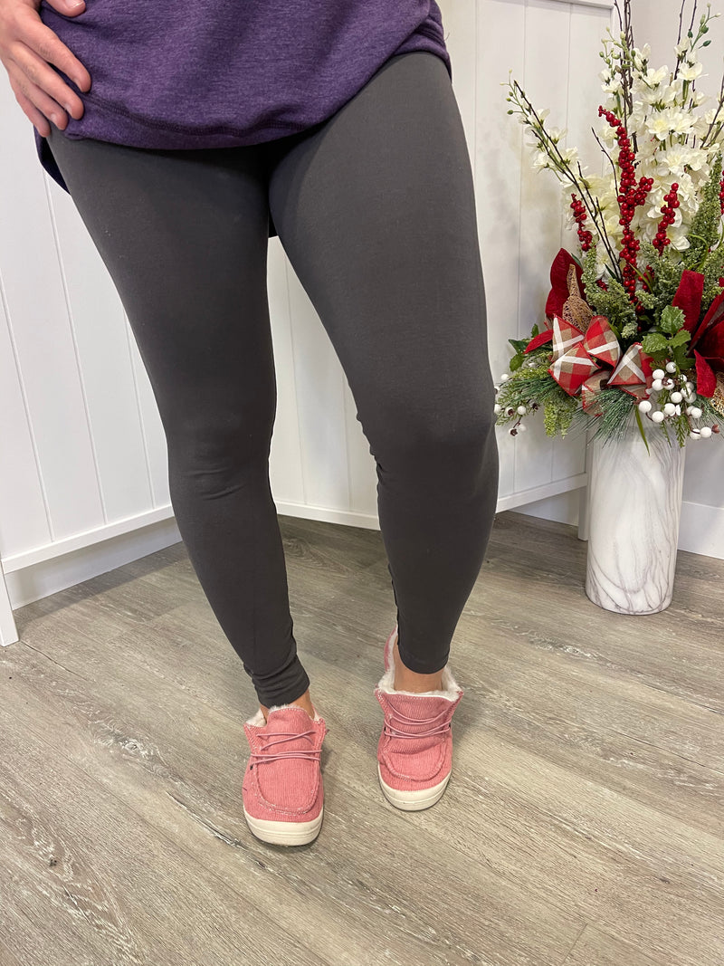 Tummy Tuck Full Length Leggings | Dark Grey