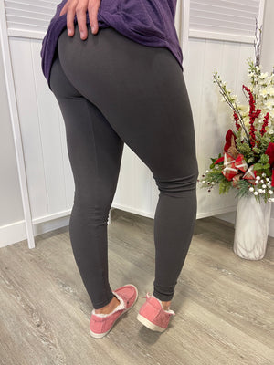 *FINAL SALE* Tummy Tuck Full Length Leggings | Dark Grey