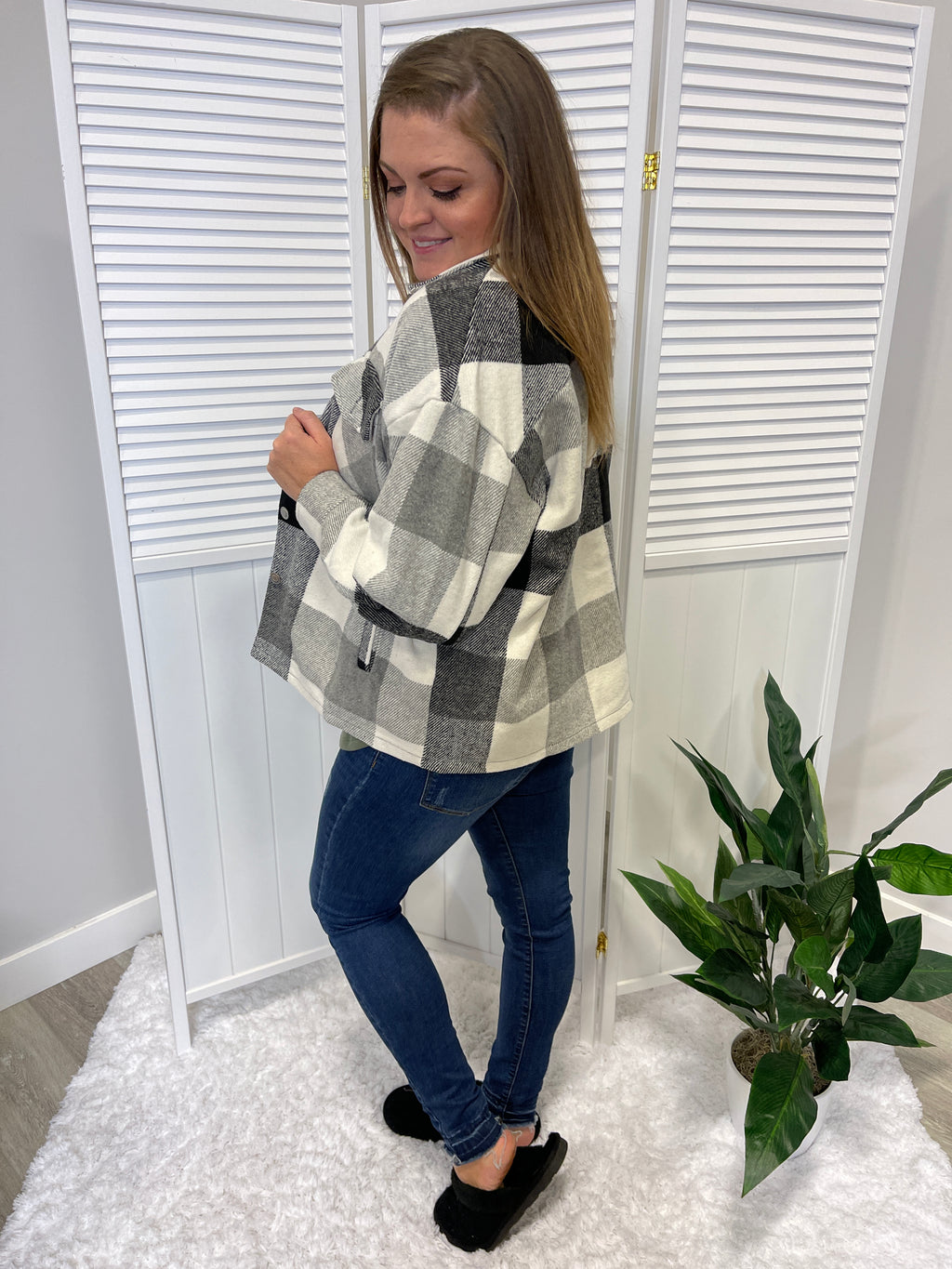 *NEW* Cheryl Shacket | Plaid | Grey