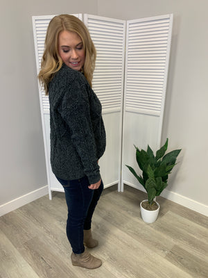 Elaine Cozy Knit Sweater | Charcoal
