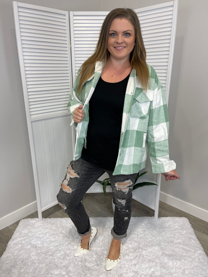 *NEW* Cheryl Shacket | Plaid | Sage