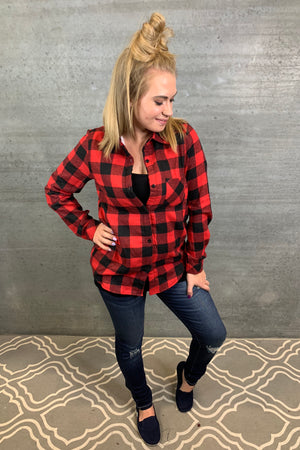 Sherpa Lined Plaid Top - Red