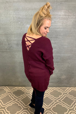 Lace Up Back Sweater - Plum