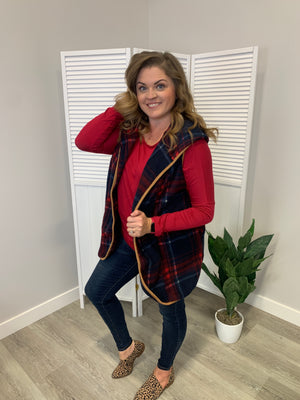 Angelica Plaid Hooded Vest | Red & Navy