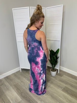 Beauty Tie-Dye Maxi Dress | Racerback | Fuchsia & Navy