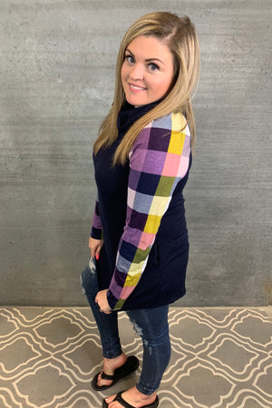 Purple Plaid Sleeve Tunic
