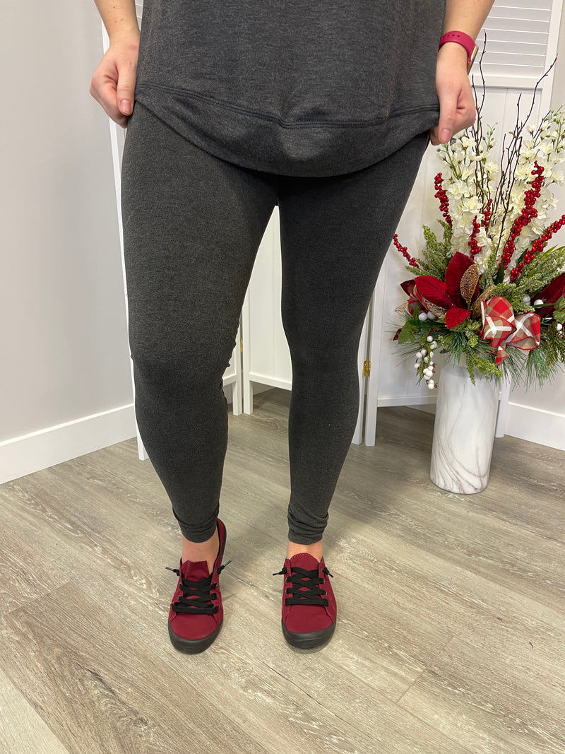 Tummy Tuck Full Length Leggings | Heather Charcoal