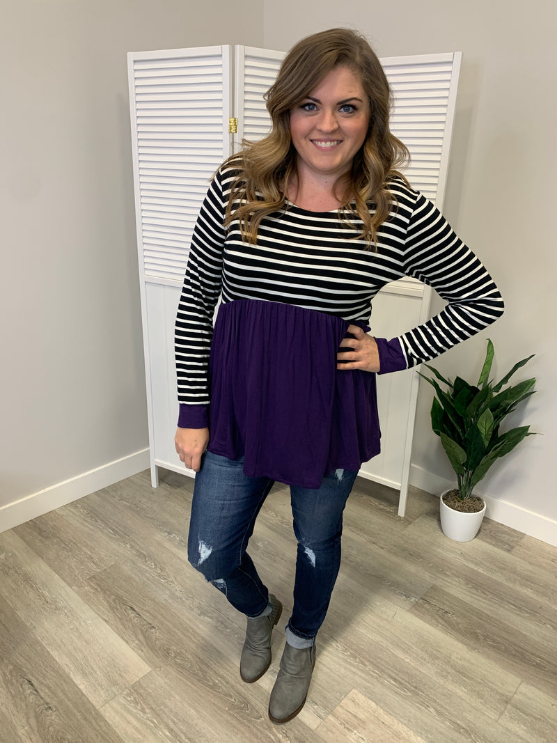 Larissa Striped Babydoll Top | Eggplant