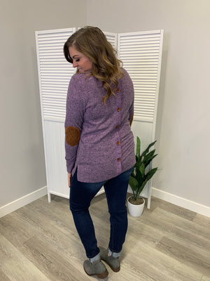 Elbow Patch Tunic - Plum