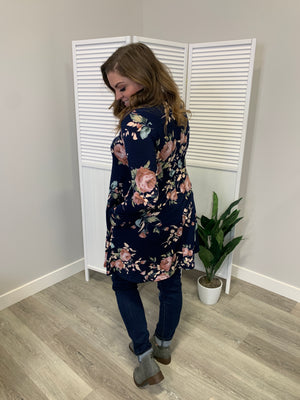 Addison Floral Pocket Dress | Navy