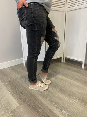 *FINAL SALE* Judy Blue Denim |GREY Distressed| Tatum