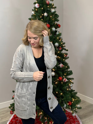 Ester Button Cardigan - Mid Grey