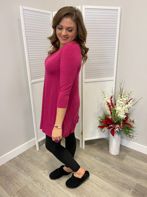 *FINAL SALE* Street V-Neck 3/4 Sleeve Pocket Top | Magenta