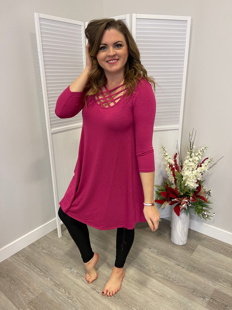 *FINAL SALE* 3/4 Sleeve Lattice Dress | Magenta