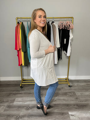 Staple Pocket Cardigan | 3/4 SLEEVE | Bone