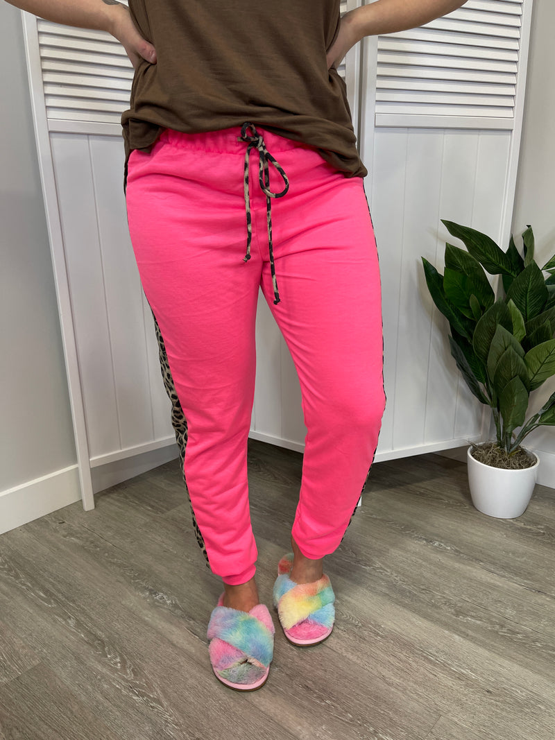 Kinsley Joggers |Leopard Track| Neon Pink