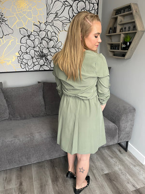 Claudia Button Dress | Sage