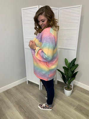 Rainbow Bright Cozy Knit Cardi | Rainbow