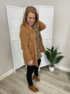Blakely Popcorn Button Cardi | Deep Camel