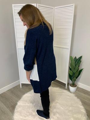 Carina Mix Colourblock Cardi | Navy & Taupe