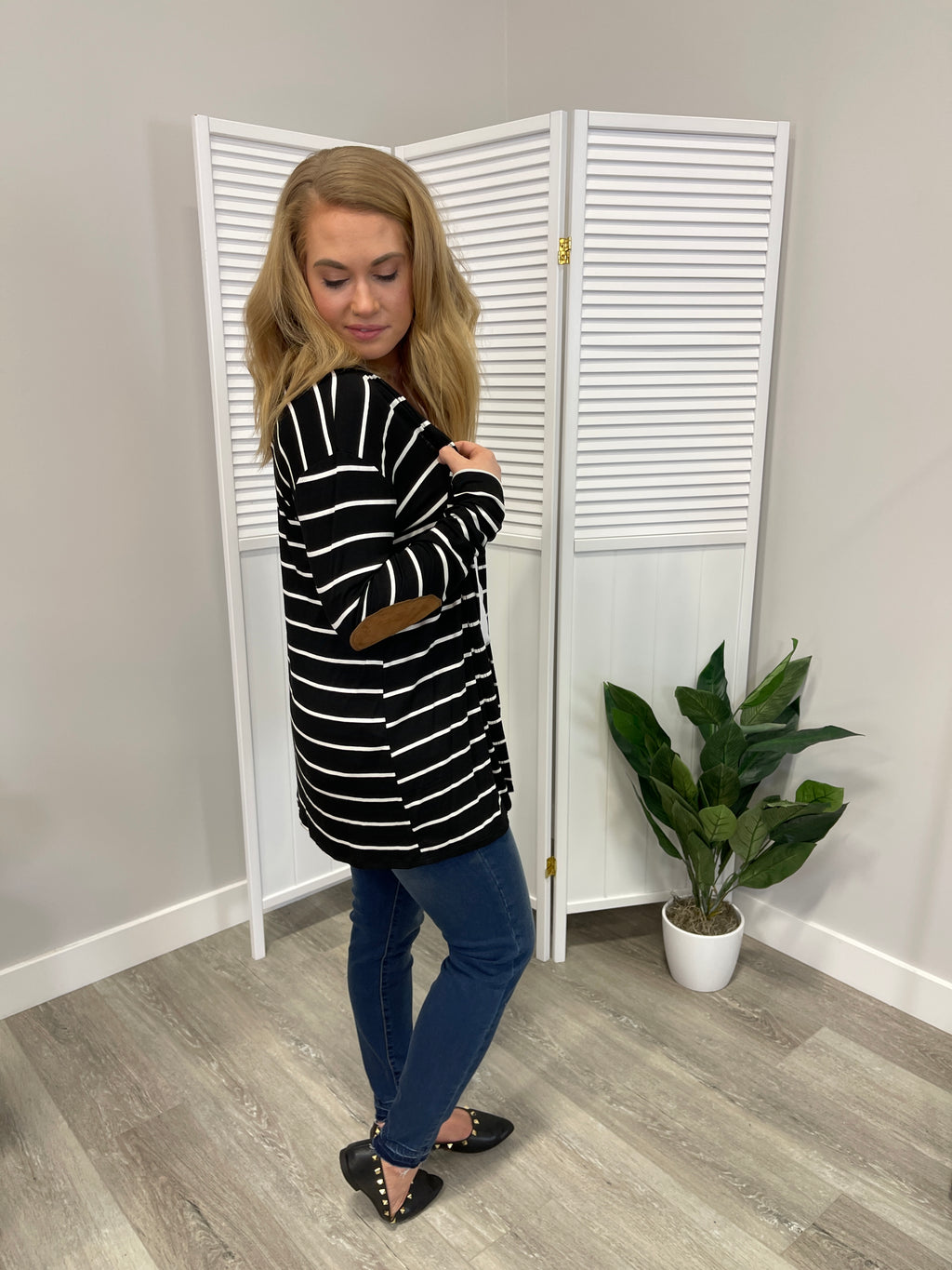 Birdie Elbow Patch Cardigan | Black & Ivory Stripes