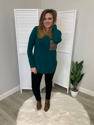 Kiki Leopard Pocket Long Sleeve | Deep Green