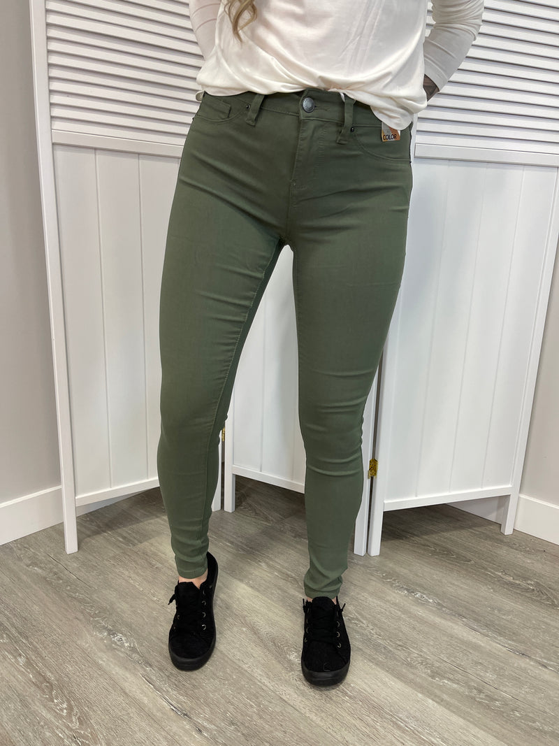 Hyper Stretch Skinnies | Olive