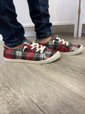 *FINAL SALE* Sutton Sneakers | Red Plaid