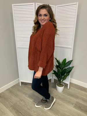 Corrie-Anne Cozy Knit Sweater | Rust